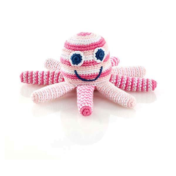 Rassel Oktopus Rosa / gehäkelt