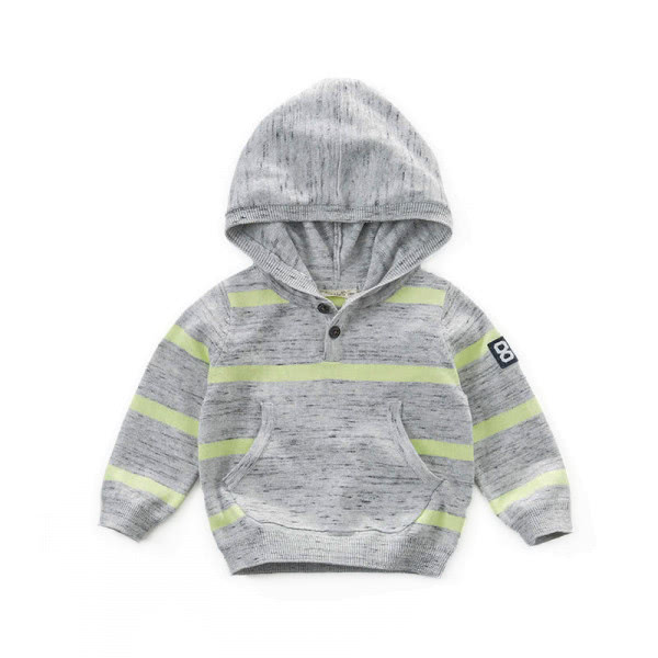 Knitted long-sleeve hooded shirt