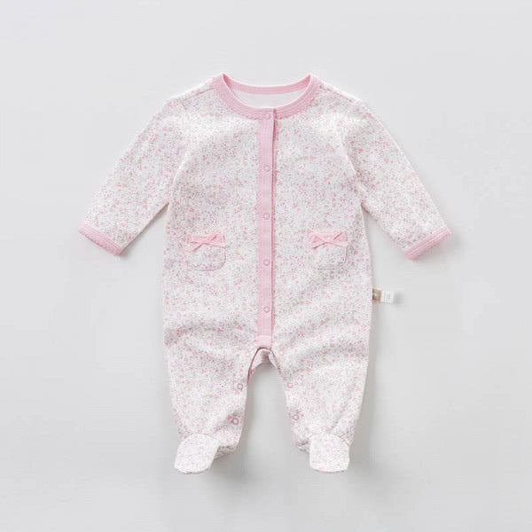 Pink floral footed sleep and play jumpsuit