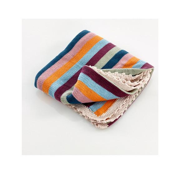 Crochet edge blanket organic – multi