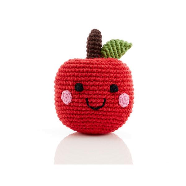 Rassel Roter Apfel / gehäkelt