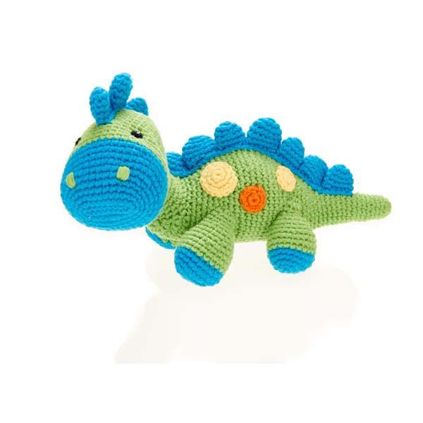 Rassel Dinosaurus Grün / gehäkelt