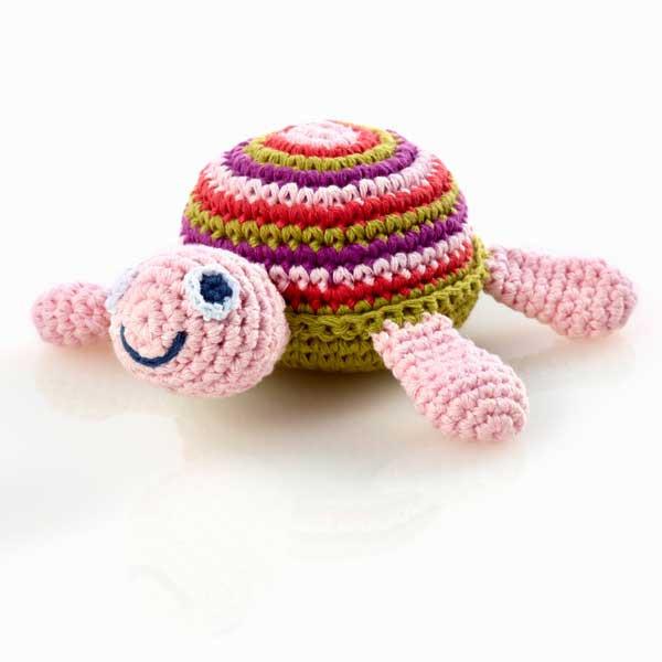 Rassel Schildkröte Rosa / gehäkelt