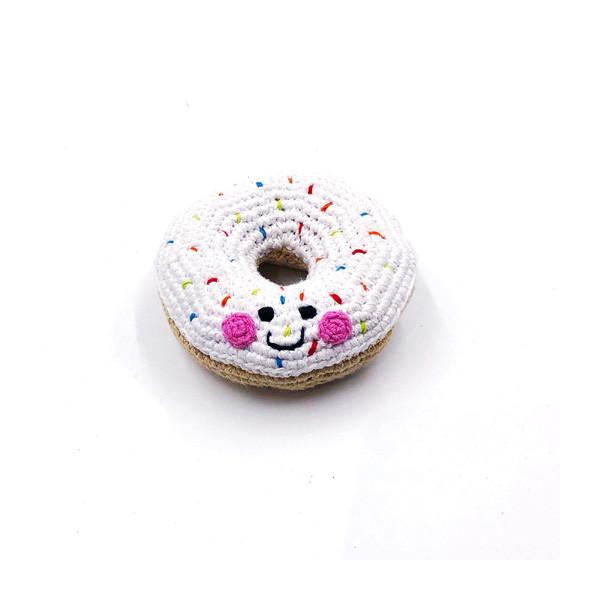 Rassel Doughnut Weiss / gehäkelt