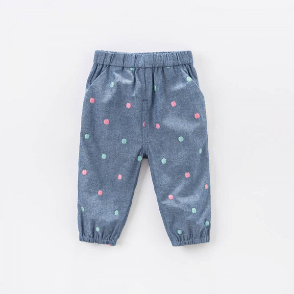 Cotton trousers dots embroidery