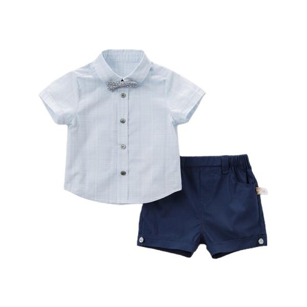 Smart navy & blue shorts set