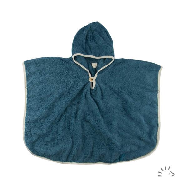 Poncho Webfrottee Blau