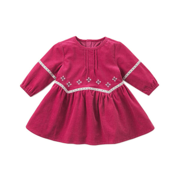 Cord long sleeve dress