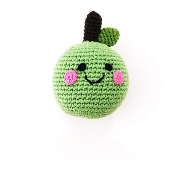 Rassel Grüner Apfel / gehäkelt