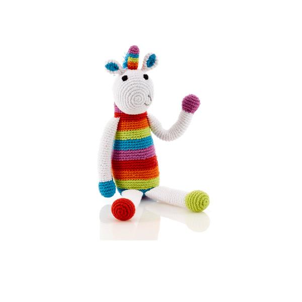 Rainbow unicorn rattle – medium