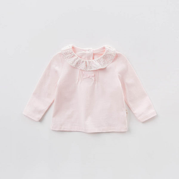 Shirt long-sleeved in pink with ruffled collar