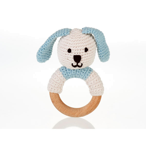 Organic wooden ring rattle – duck egg blue bunny
