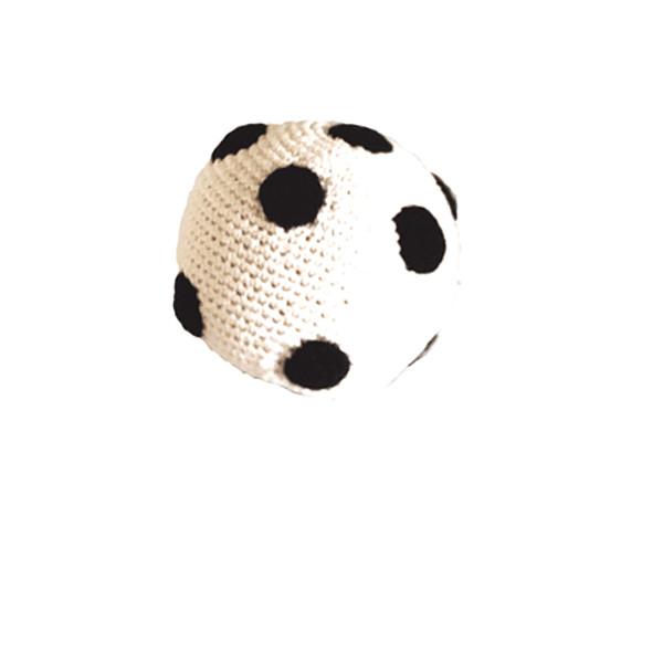 Rassel Ball farblos / gehäkelt