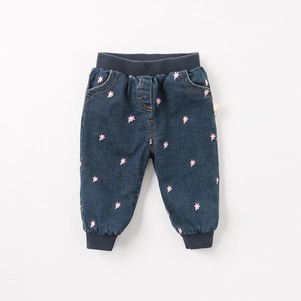 Gefütterte Mädchen Jeans mit Softbund und Stickerei in blau von Dave and Bella DB8428