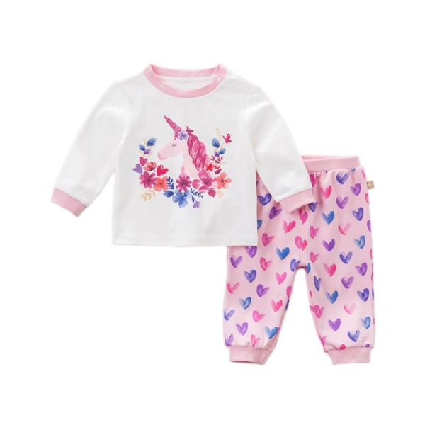 Mädchen Pyjama Schlafanzug mit Einhorn Print in rosa