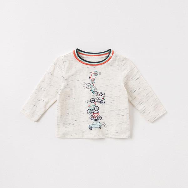Long sleeve shirt with embroidery bike