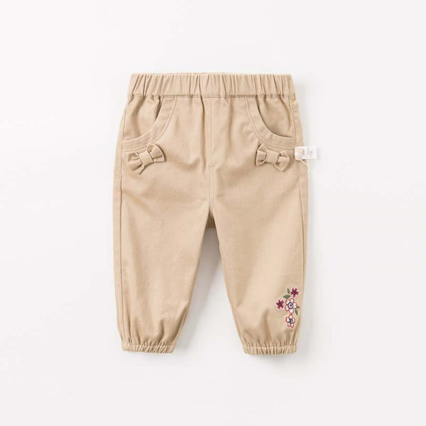 Fabric trousers with embroidery